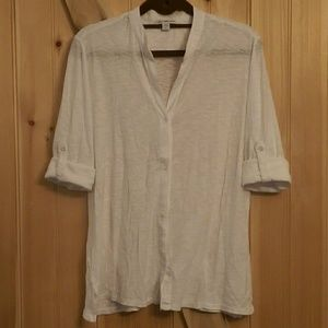 Button Front Shirt in White